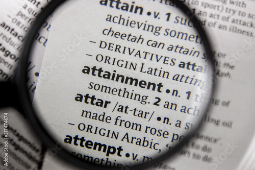 The word or phrase attainment in a dictionary. Wallpaper Mural