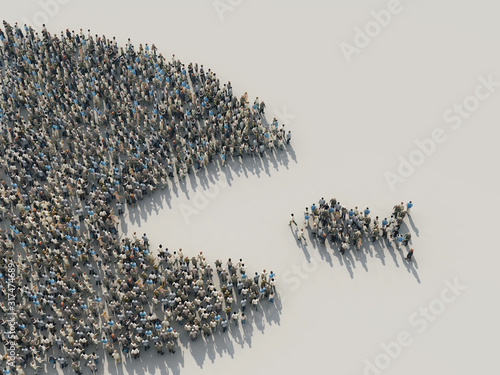 Fototapeta a large crowd of people in the shape of a fish hunts for a small obraz