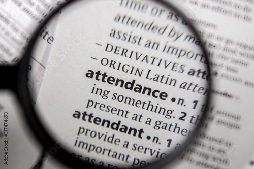 The word or phrase attendance in a dictionary. Wallpaper Mural