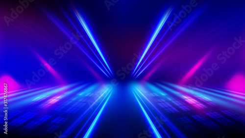 Obraz Abstract dark background with blue and pink neon glow. Neon luminous figure in the center of the stage. - fototapety do salonu