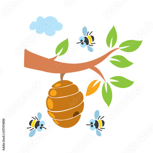 Fotografija Funny honey bees and bee hive illustration set