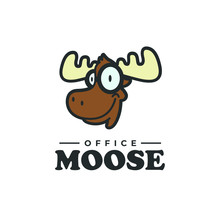 Smart Moose Logo Animal Deer Elk Wild Illustration Mascot Zoo Cartoon Character Nerd Glasses Geek Student Education Education Genius Knowledge Nerdy