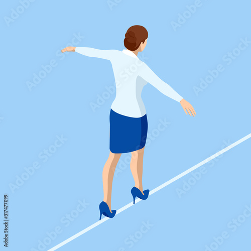 Isometric business woman tightrope walker is on the rope Wallpaper Mural