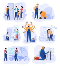 Home Renovation Work, Repair Man Service Vector Illustration. Handyman Cartoon Character, Set Of Building Renovation Scenes. Professional House Repair Service, Workers In Overalls, Team Of Builders