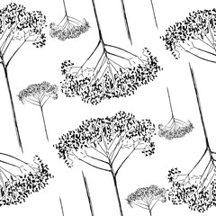 Panel Szklany Do baru Monochrome botanical pattern. Hand-drawn dry flower twigs. Black and white seamless background. Vector backdrop