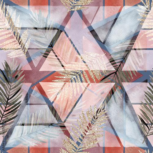 streszczenie-nordic-druk-z-elementami-geometrycznymi-i-liscmi-akwarela-bezszwowe-wzor-recznie-rysowane-ilustracja-marmur-tlo-mieszane