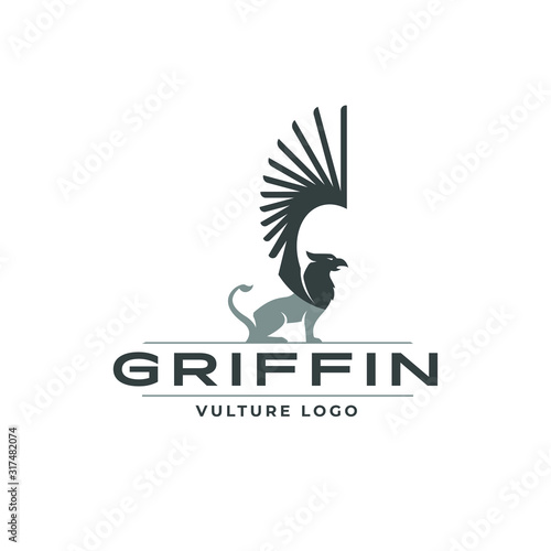 Griffin logo mascot animal fantasy eagle lion medieval wings beast heraldry crea Wallpaper Mural