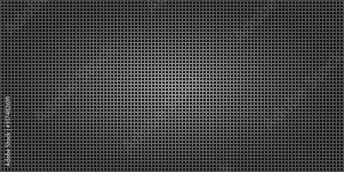 Photo Black metallic abstract background, perforated steel network mesh