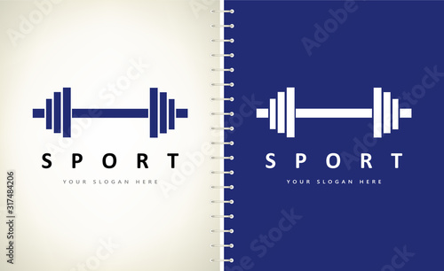 Barbell logo vector. Sport illustration. Fototapeta