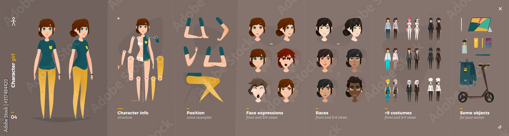 Fototapeta Casual Clothes Style. Girl Cartoon Character for Animation.