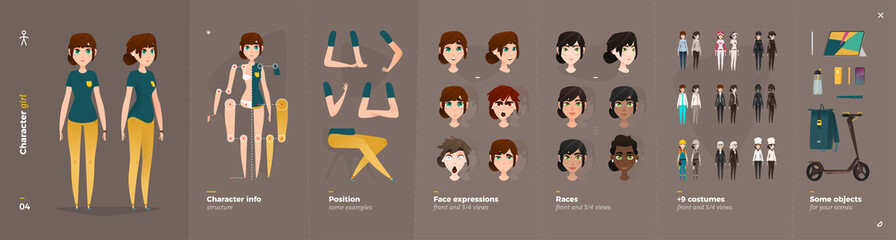 Casual Clothes Style. Girl Cartoon Character for Animation.