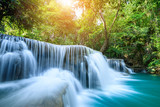 Beauty in nature, Huay Mae Khamin waterfall in tropical forest of national park, Kanchanaburi, Thailand