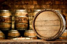 Retro Old Barrel On Wooden Tab...