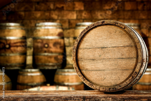 Retro old barrel on wooden table and free space for your decoration Canvas Print