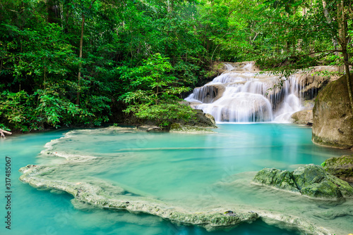 Waterfall in Tropical forest at Erawan waterfall National Park, Thailand - 317485067