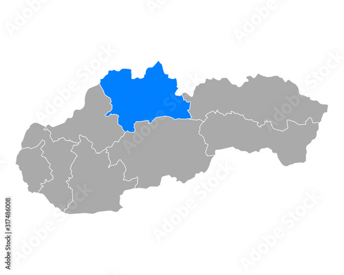 Fototapeta Karte von Zilinsky kraj in Slowakei obraz