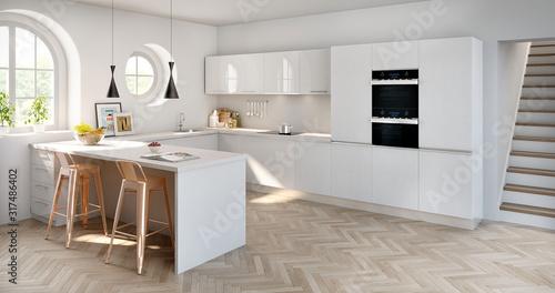 Cocina moderna blanca estilo minimalista con ventanales redondos y luz cálida Tablou Canvas