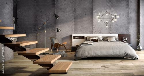 Dormitorio amplio estilo industrial Canvas Print