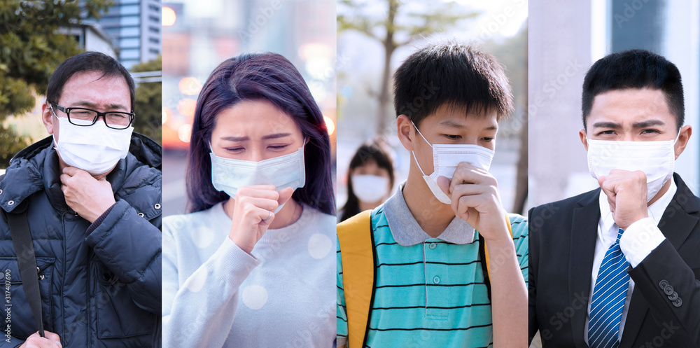 Fototapeta Asian people suffer from cough with face mask protection