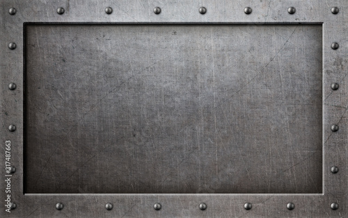 grunge metal frame with rivets background 3d illustration