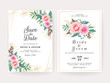 Set of cards with floral decoration. Elegant wedding invitation template design of peach rose flowers and gold leaves. Botanic illustration for save the date, event, cover, poster vector