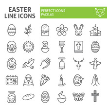 Easter Line Icon Set, Spring H...