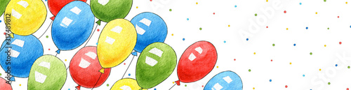 Watercolor banner with birthday balloons for congratulations. Greeting card, background, postcard, invitation. Hand drawn cute air balls for holiday, party