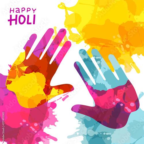 Holi Festival Background with Colorful Handprint and rainbow splashes Tapéta, Fotótapéta