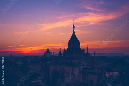 Ancient Buddhist Temples of Bagan Kingdom at sunrise Wallpaper Mural