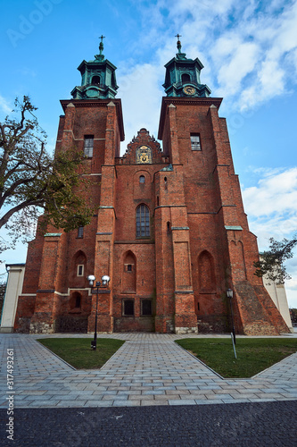 Tablou Canvas belfries of the historic,  gothic cathedral during autumn in Gniezno