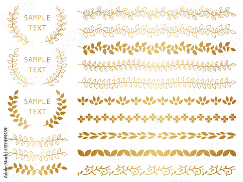 Carta da parati 飾り罫 フレーム ゴールド 植物