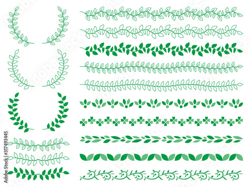 Obraz 飾り罫 フレーム 植物 - fototapety do salonu