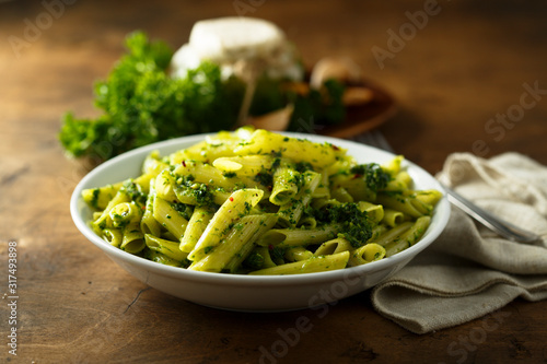 Photo Pasta with homemade pesto sauce