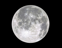 Full Moon Isolated On Black Background.	Image In High Resolution. Bright Lunar Satelite.