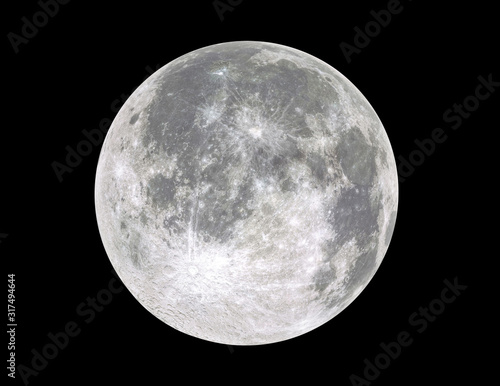 Fotomural Full moon isolated on black background