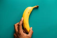 Banana On A Blue Background