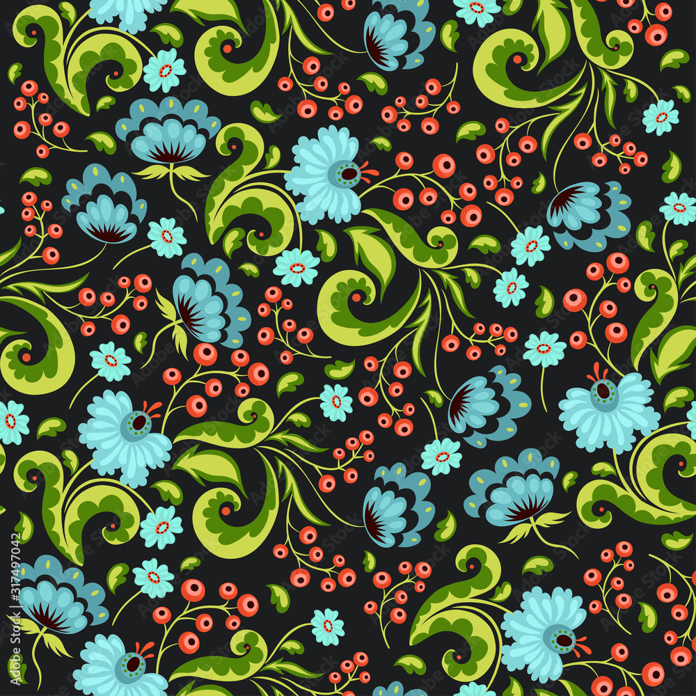 Seamless pattern with flowers and berries in russian style. Vector graphics.