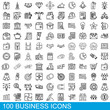 100 business icons set. Outline illustration of 100 business icons vector set isolated on white background