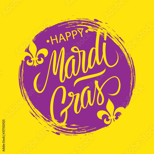 Canvas Print Happy Mardi Gras greeting card with circle brush stroke backgroud and calligraphic lettering text design