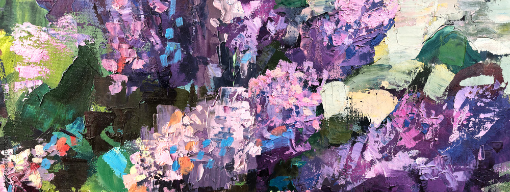Fototapeta Abstract oil painting Horizontal background. Lilac tree in Impressionism style