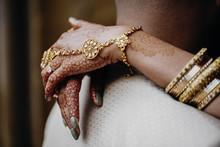 Bride's Hands Are Colored With...