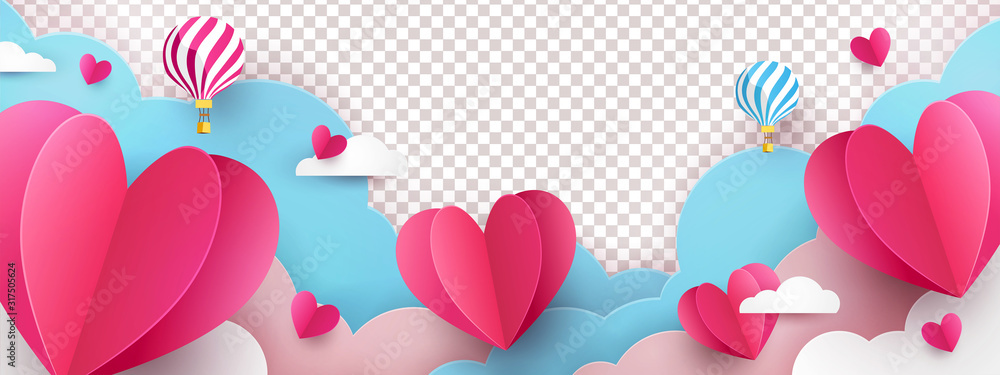Fototapeta Valentine's Day modern border frame design for Website, greeting or Sale banner, flyer, poster in paper cut style with cute flying Origami Hearts over clouds with air balloons isolated on background.