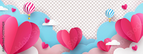 Fototapeta Valentine's Day modern border frame design for Website, greeting or Sale banner, flyer, poster in paper cut style with cute flying Origami Hearts over clouds with air balloons isolated on background. obraz