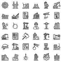 Demolition Work Icons Set. Out...