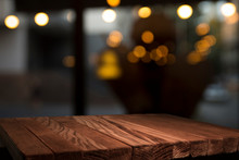 Empty Brown Wooden Table And B...