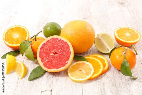 assortment of citrus fruit with lemon, orange,grapefruit,lime Canvas Print