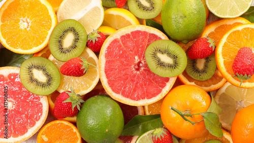 Obraz na plátně assortment of citrus fruit with lemon, orange,grapefruit,lime