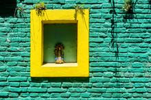 Green And Yellow Brick Wall Wi...