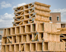 Wood Roof Trusses Stacked Up At A Construction Site