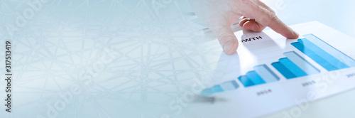 Obraz Analyzing growing results; panoramic banner - fototapety do salonu